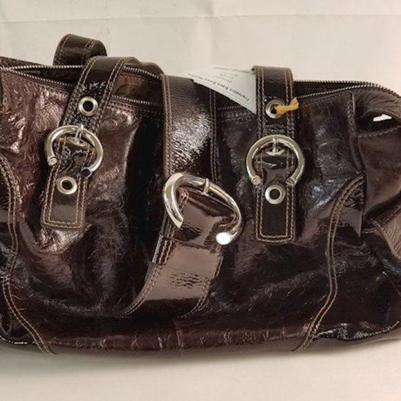 Francesco Biasia Italian Brown Patent Leather Bag